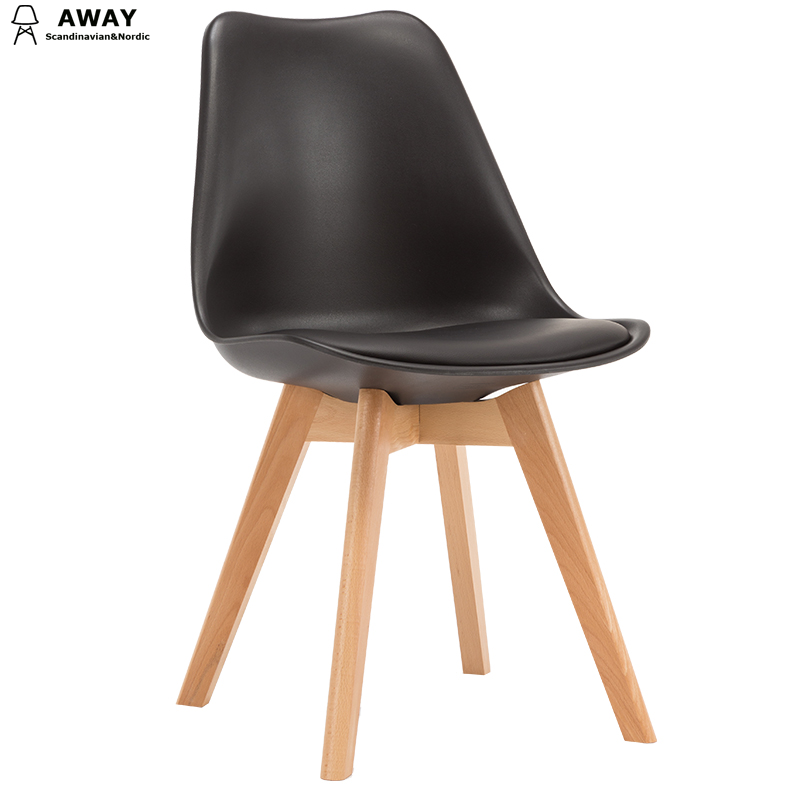 black soft pad scandinavian design tulip dining chair with solid wood legs