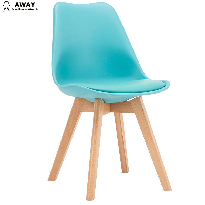 light blue soft pad scandinavian design tulip dining chair with solid wood legs