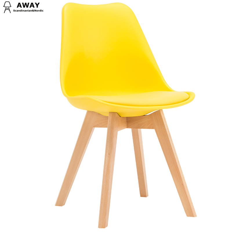 yellow soft pad scandinavian design tulip dining chair with solid wood legs