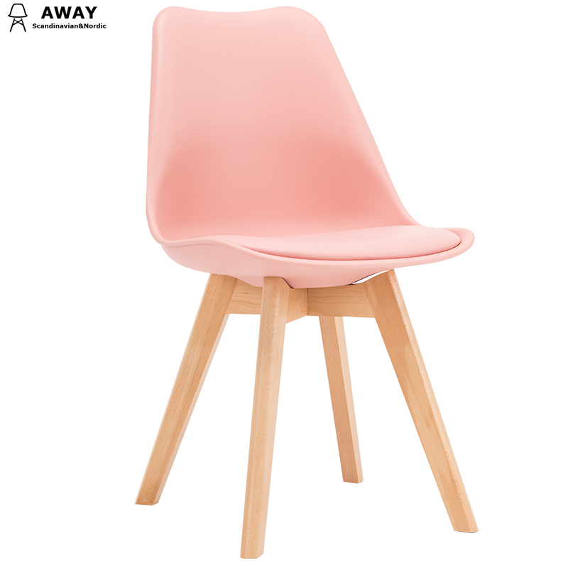 pink soft pad scandinavian design tulip dining chair with solid wood legs