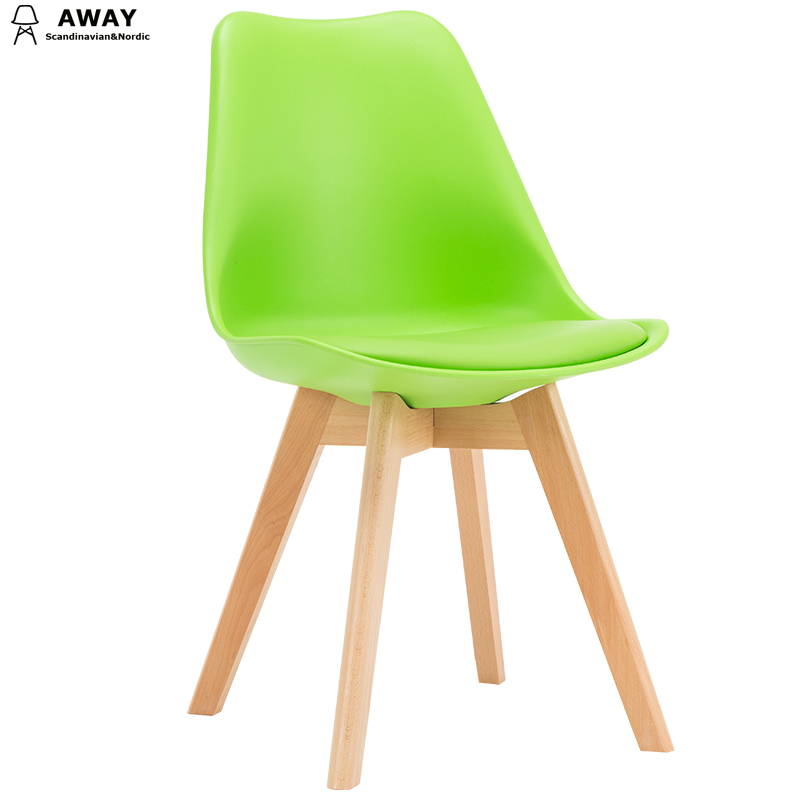 green soft pad scandinavian design tulip dining chair with solid wood legs