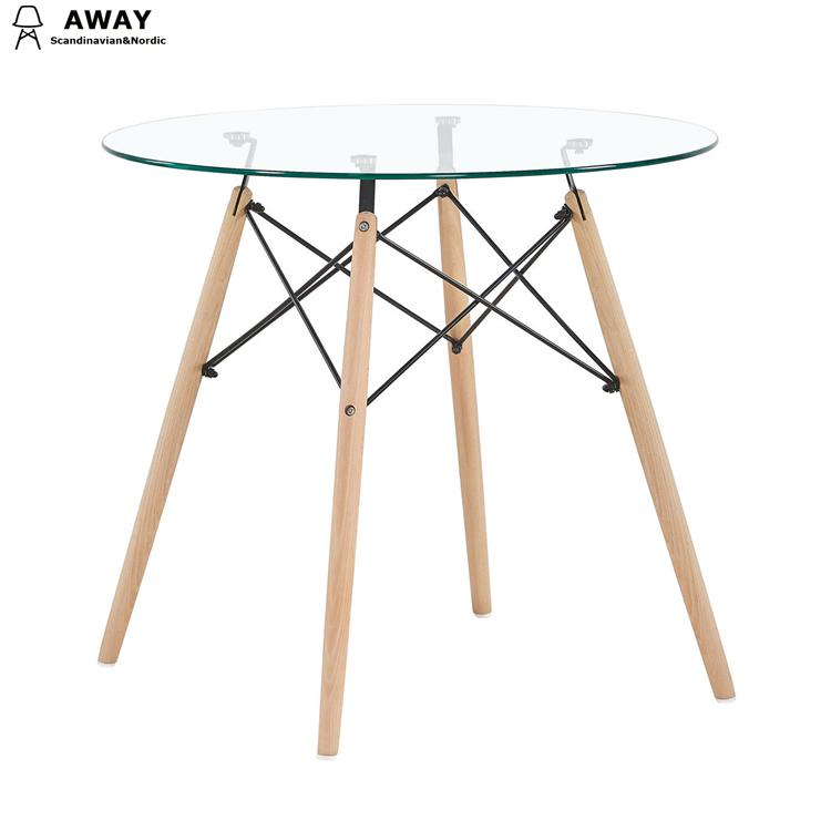 scandinavian design glass top round dining table