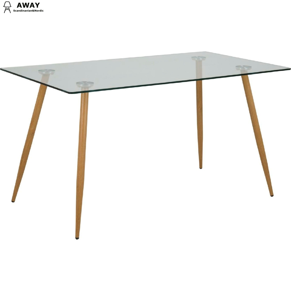 transparent glass top dining table metal legs scandinavian design