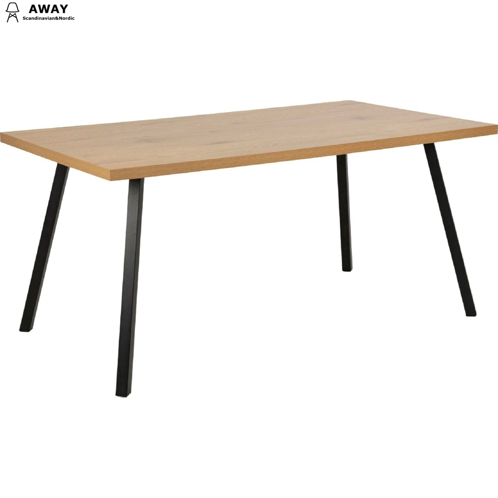 MDF veneer dining table powder coated metal base