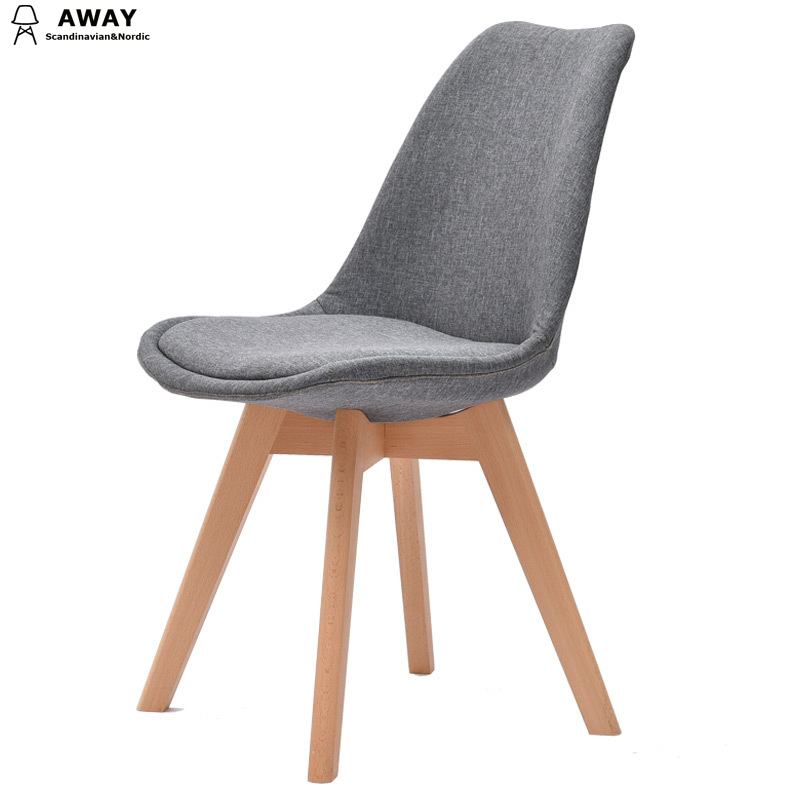 scandinavian design upholstered fabric tulip dining chair