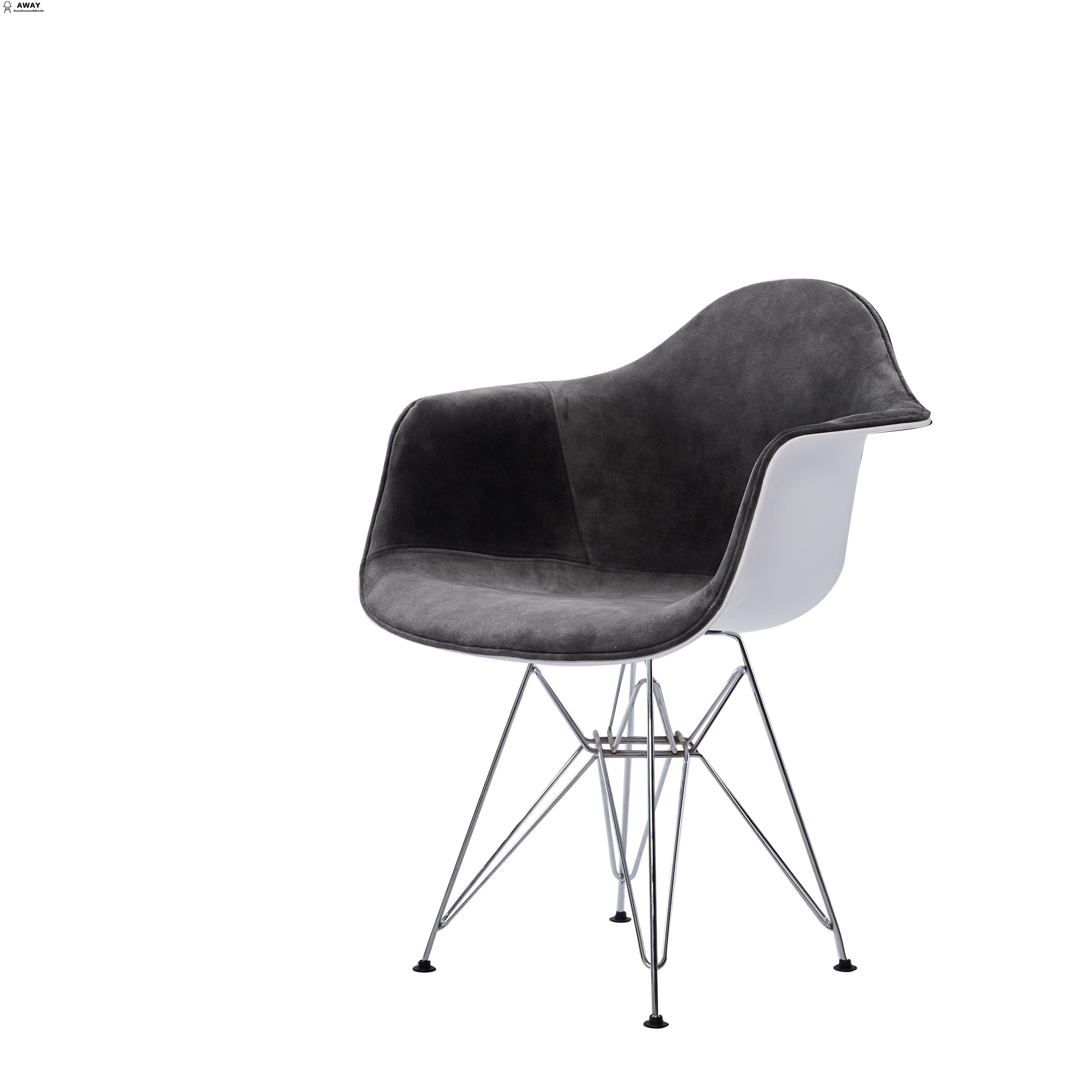 DAW style gray fabric upholstered dining chair chromed legs