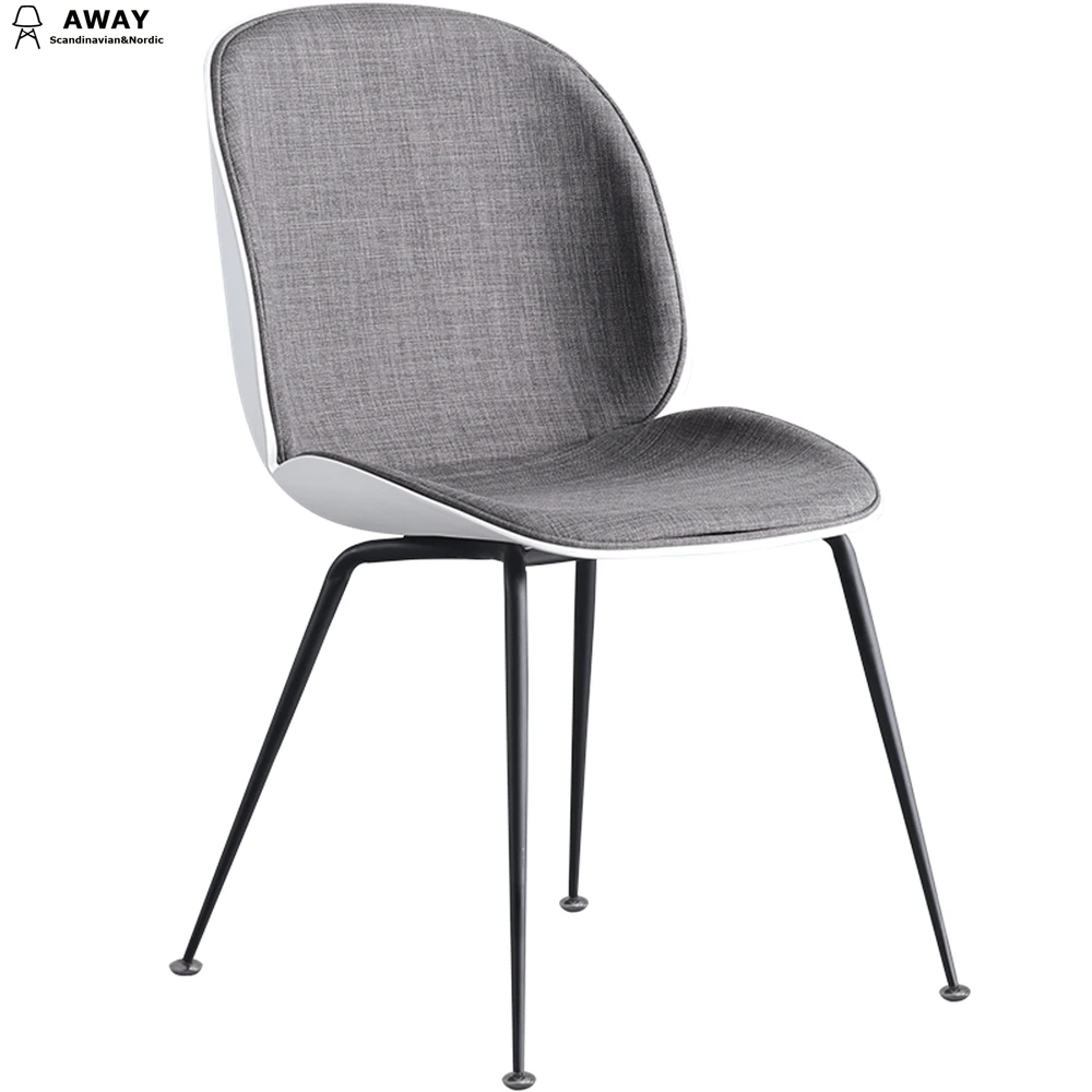 scandinavian design gray fabric upholstered beetle dining chair